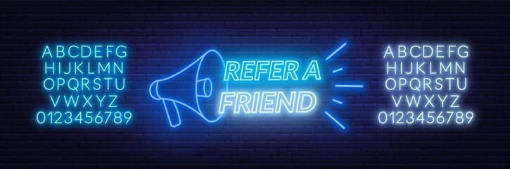 Refer a friend neon sign on brick wall background. Template for the design of the referral program. Neon alphabet .
