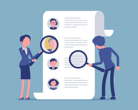 Headhunters searching for employee. Male and female workers of recruiting service with magnifying glass looking for best candidate cv, recruitment agency. Vector illustration, faceless characters
