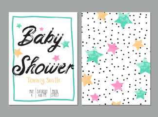 Foto auf Acrylglas Retro sign baby shower card