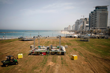 A general view picture shows the area where the Eurovision Village, a space dedicated for fans of the upcoming Eurovision Song Contest, is being constructed in Tel Aviv, Israel