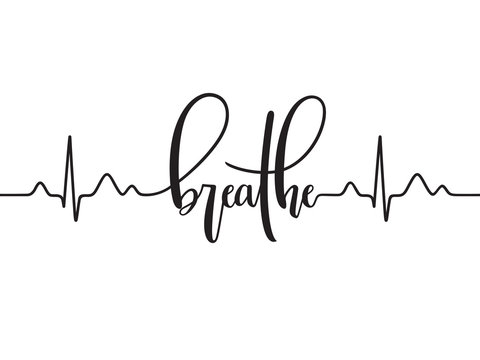 Cardiogram line forming word Breathe. Modern calligraphy, hand written