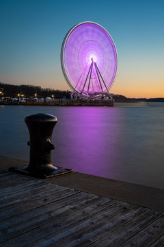 National Harbor Capital Ferris Wheel at Sunset with Steel Boat Tie
