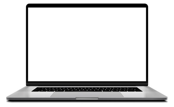 Laptop modern frameless with blank screen isolated on white background - super high detailed photorealistic esp 10 vector