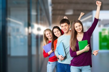 Student happy adult arms raised back back to school backpack