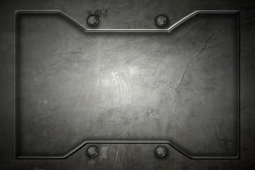 metal or concrete wall with metal frame for background and texture.