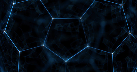 Holographic football background. Abstract sport image. Soccer ball network structure. Digital computer image. Generative picture. 3D illustration, 3D rendering