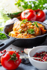Traditional stuffed cabbage with minced meat.