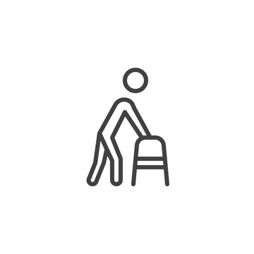 Man with walker line icon. linear style sign for mobile concept and web design. Disabled people with walking frame outline vector icon. Symbol, logo illustration. Pixel perfect vector graphics