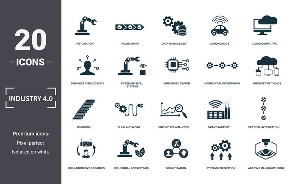 Industry 4.0 icons set collection. Includes simple elements such as Automation, Value Chain, Data Management, Autonomous, Cloud Computing, Plug And Work and Predictive Analytics premium icons