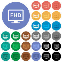 Full HD display round flat multi colored icons