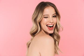 Obraz Beautiful sensual topless woman with long blonde hair - fototapety do salonu