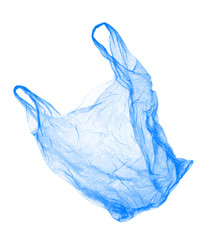 Blue plastic bag on white background. Isolated