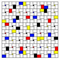 Neoplasticism imitation pattern (Piet Mondrian) vector background