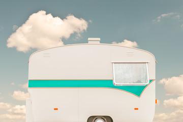 Vintage seventies white caravan
