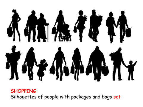 shopping silhouettes of people with packages set