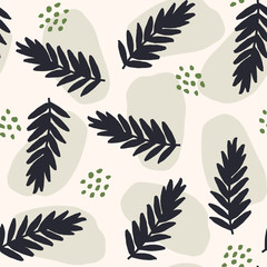 Fototapete - Seamless Abstract Leaf Shapes Pattern