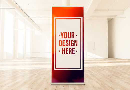 Roll-Up Banner Mockup in an Empty Loft Background