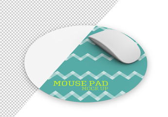 Round Mouse Pad with Mouse Mockup