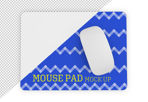 Top of View of Rectangular Mouse Pad with Mouse Mockup