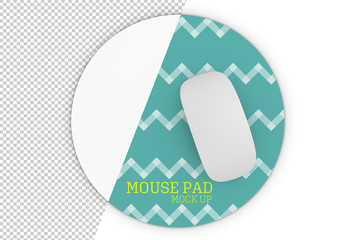 Top of View of Round Mouse Pad with Mouse Mockup