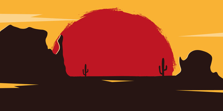 Wild West landscape with mountains and cactus. Sunset at the Texas. Vector illustration.