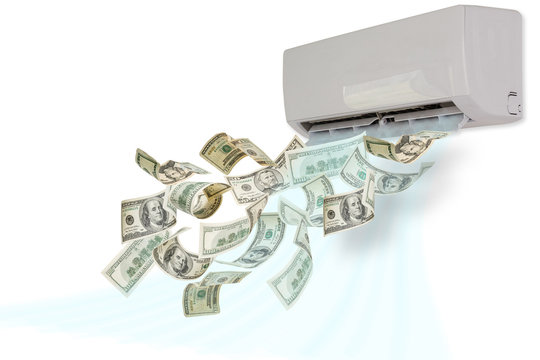 air conditioning dollars winding money concept background business composition on isolate