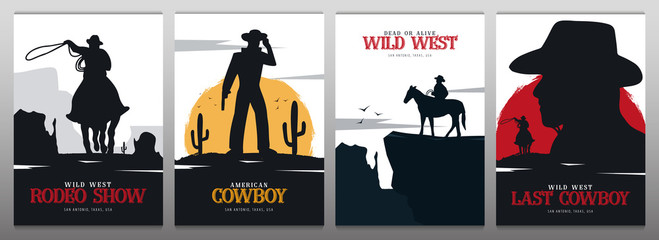 Set of Cowboy banners. Rodeo. Wild West banner. Texas. Vector illustration. Wall mural