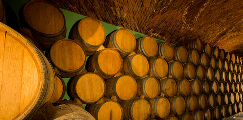 Wall Mural - Detail of wine barrels stacked