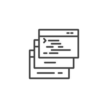 Computer codes windows linear icon