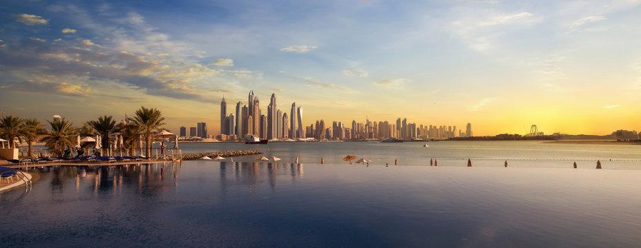 Panorama of Dubai Marina Skyline at sunset United Arab Emirates