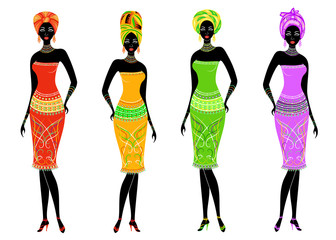 A collection of beautiful African American ladies. Girls have bright clothes, a turban on their heads. Women are young and slim. Vector illustration set