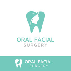 Simple Elegan Oral and Facial logo design, using tooth shape and silhouette of beauty woman face.