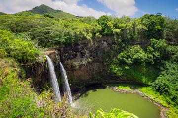 Wailua Falls, panoramic view of the twin waterfalls, Kauai, Hawaii, USA