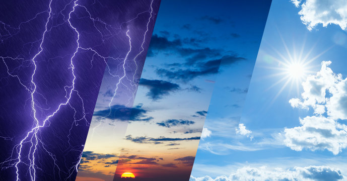 Weather forecast concept, collage of variety weather conditions