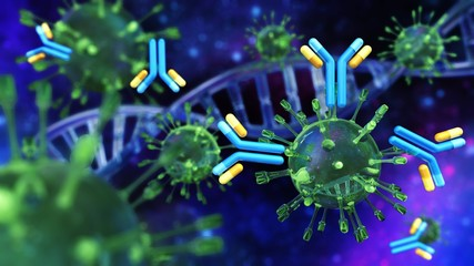 Virus and antibodies close-up on DNA background, scientific background with DNA and virus, 3d rendering