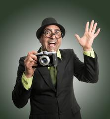 Divertido retrato de fotógrafo