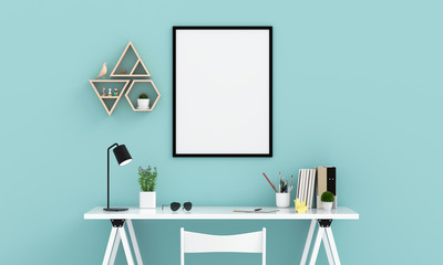 Empty photo frame for mockup on wall, 3D rendering