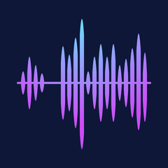 Sound radio wave background of soundtrack or sound diagram. Vector graph of microphone sound equalizer pattern