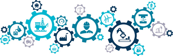 heavy industry icon concept – engineering, oil & construction industry – vector illustration