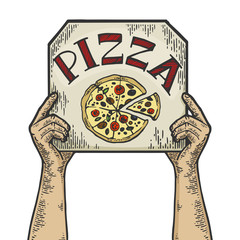 Hands with pizza box color sketch engraving vector illustration. Scratch board style imitation. Black and white hand drawn image.