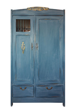 Vintage wardrobe, old furniture. Shabby style interior, furniture from rustic chalk paint.