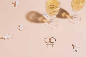 Two wedding rings on a background with graphic symbolising gay marriage