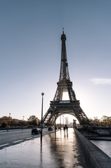 Road with traffic and Eiffel tower