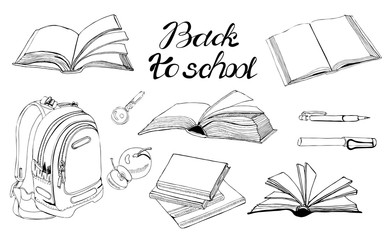 Collection of  hand drawn ink monochrome  sketch with books, school items and lettering isolated on white background.