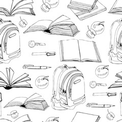 Seamless pattern of  hand drawn ink monochrome  sketch with books, schooll items and lettering isolated on white background.
