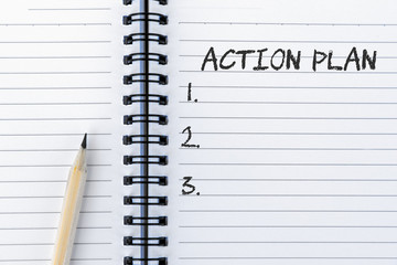 Action Plan list on notepad with pencil