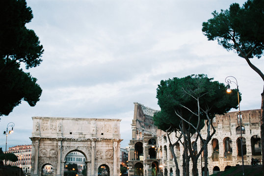 Colosseum and the Arch of Titus in Rome, Italy