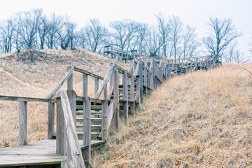 Mt. Tom stairs Michigan City, Indiana USA / 03/29/2018 // 192 Feet// 43 Degree maximum slope angl A wooded Staircase headed up Mt.Tom one of the Dunes at Indiana Dunes National Park
