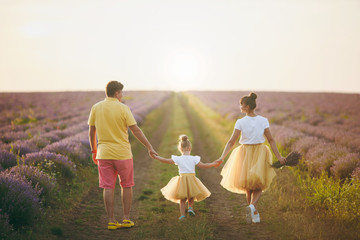 Young family in yellow clothes walk on purple lavender flower meadow field background, have fun, play with little cute child baby girl. Mother father, small kid daughter. Outdoors summer day concept.