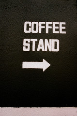 Close up of coffee stand sign